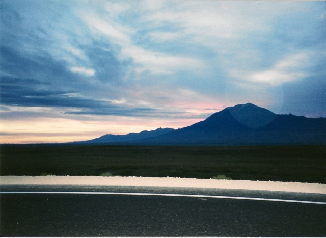 Nevada's stark landscape is softened by sunrise.