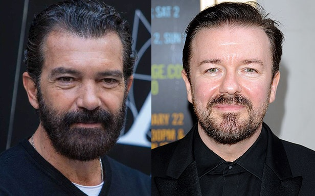 Banderas on the left, Gervais on the right.